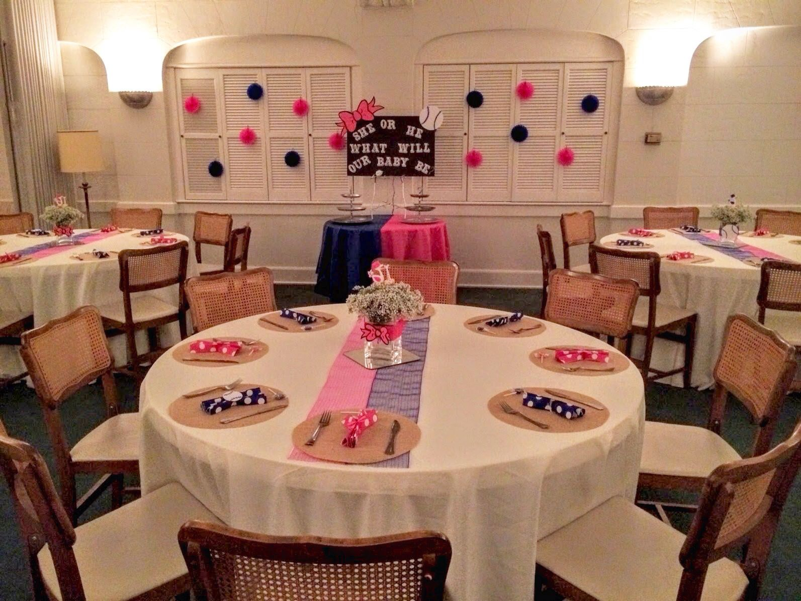 Table Setting For Gender Reveal Designed By Elegant Times Bows Or Baseball Theme