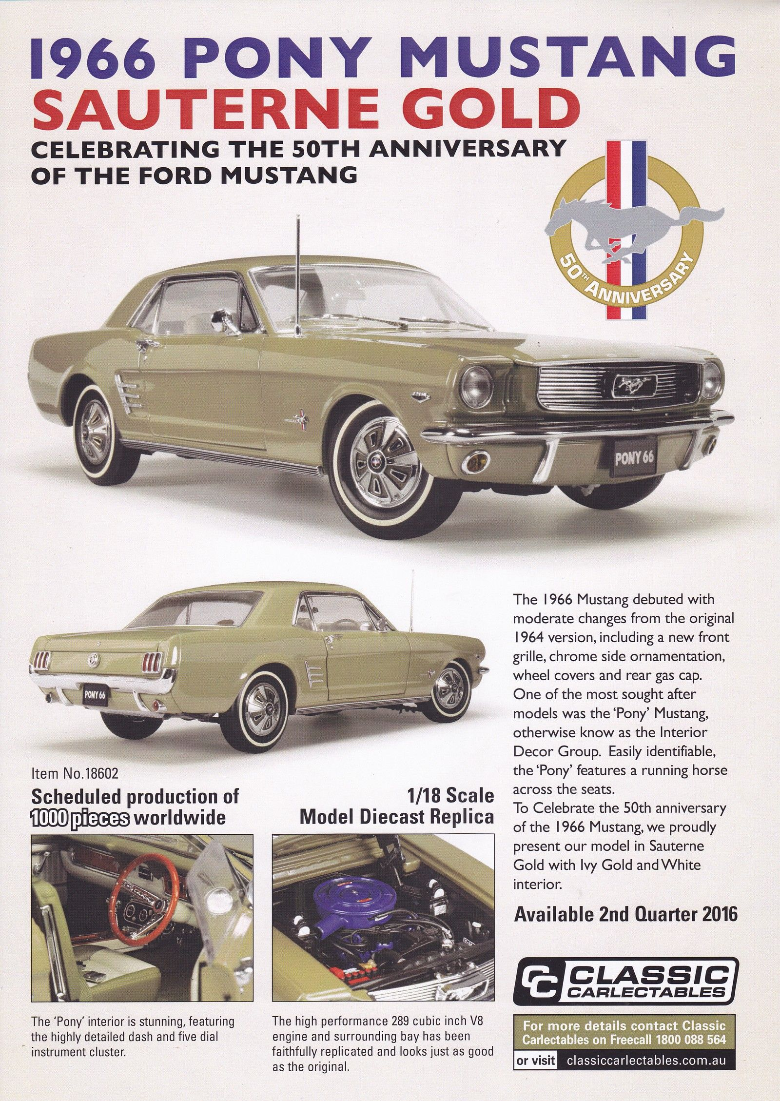 1966 Ford Mustang in Sauterne Gold. Model features