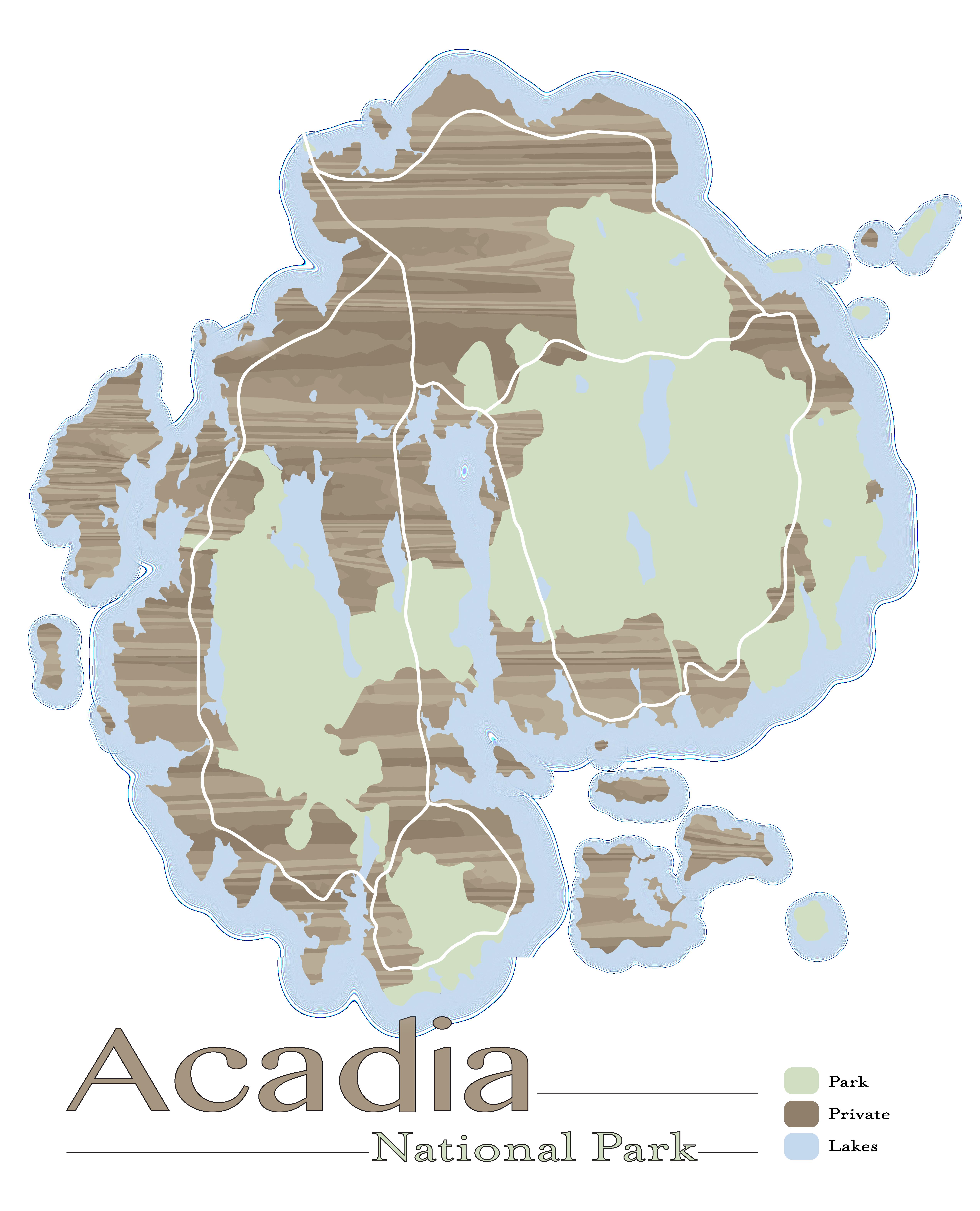 Acadia National park map printposter Maps Pinterest Acadia
