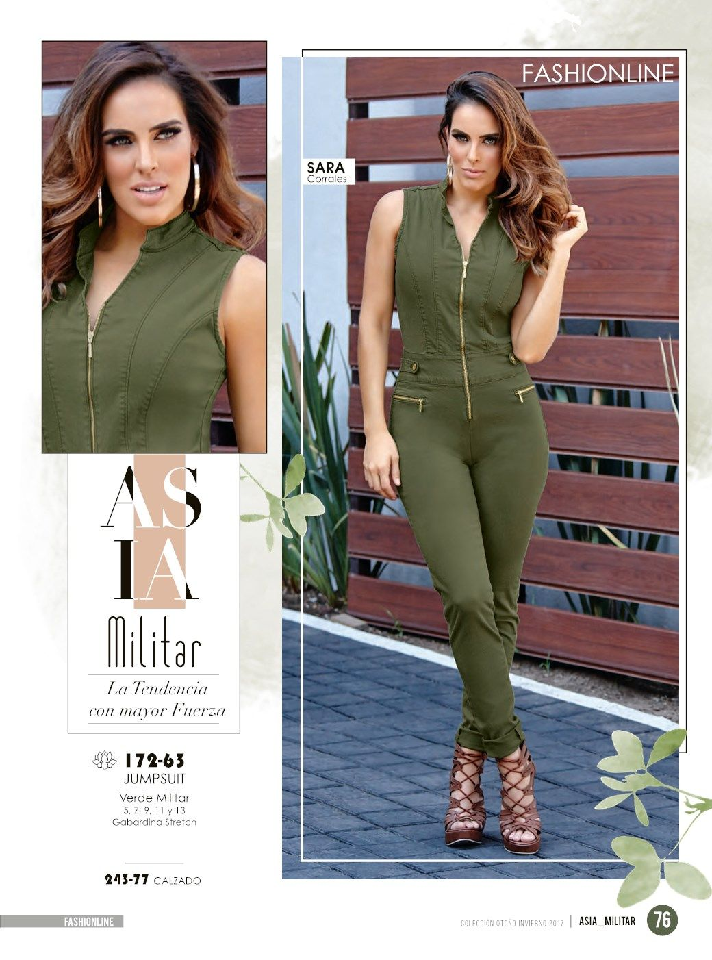 9029eb3f0 Jumpsuit verde militar de moda para mujer. Look casual de tendencia con  Sara Corrales estrella