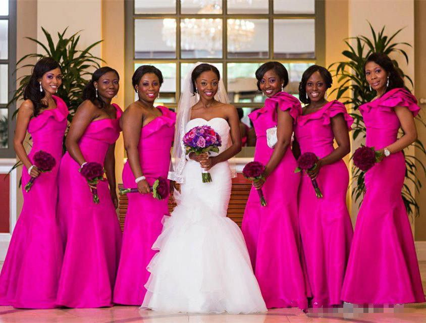 Fascinating Cheap Fuchsia One Shoulder Mermaid Bridesmaid Dresses ...