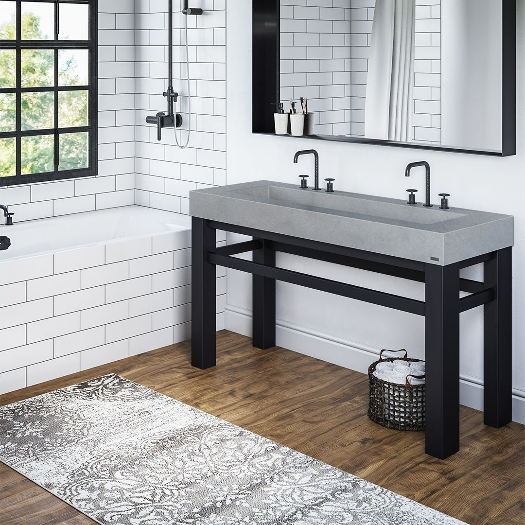 60 Industrial Vanity With Concrete Rectangle Sink Industrial