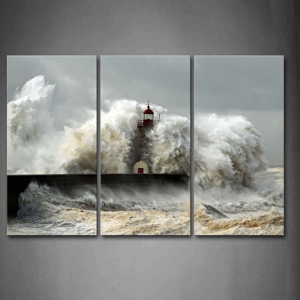 Lighthouse In The Waves Of Sea Wall Art Painting Picture