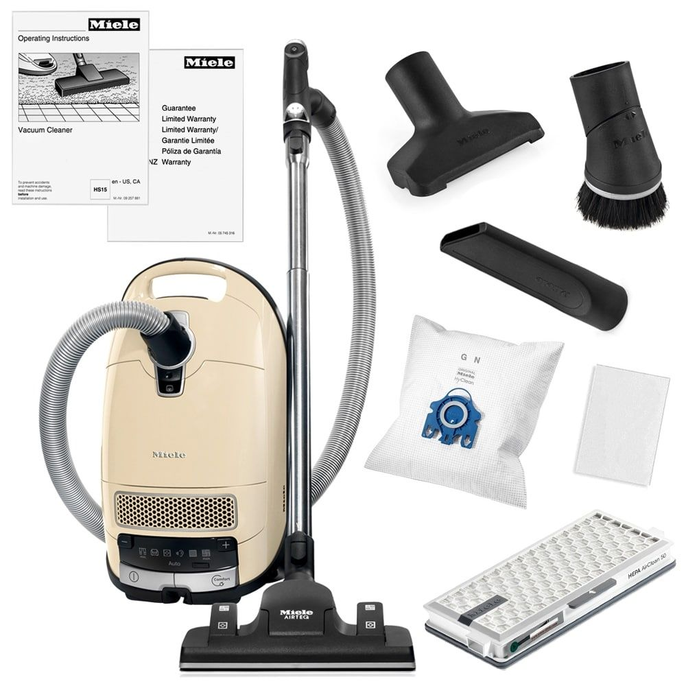 Miele Complete C3 Alize Canister Vacuum Cleaner Rug And Floor Tool Crevice Upholestry Dusting Brush More Beige Off White