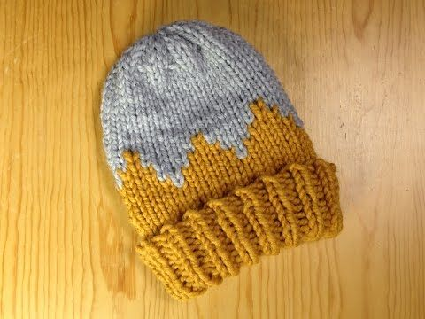How To Loom Knit A Bicolor Child Hat Diy Tutorial Youtube