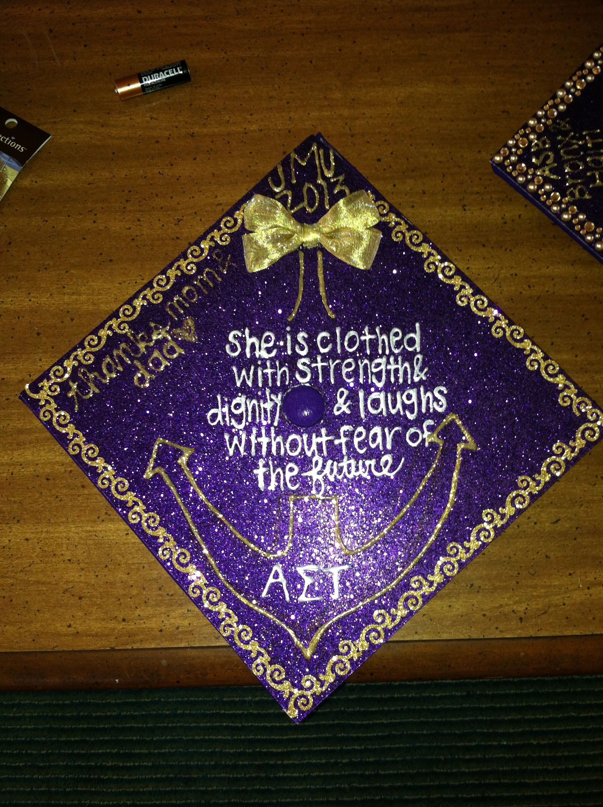 AST JMT decorated graduation cap grad hat mencement purple