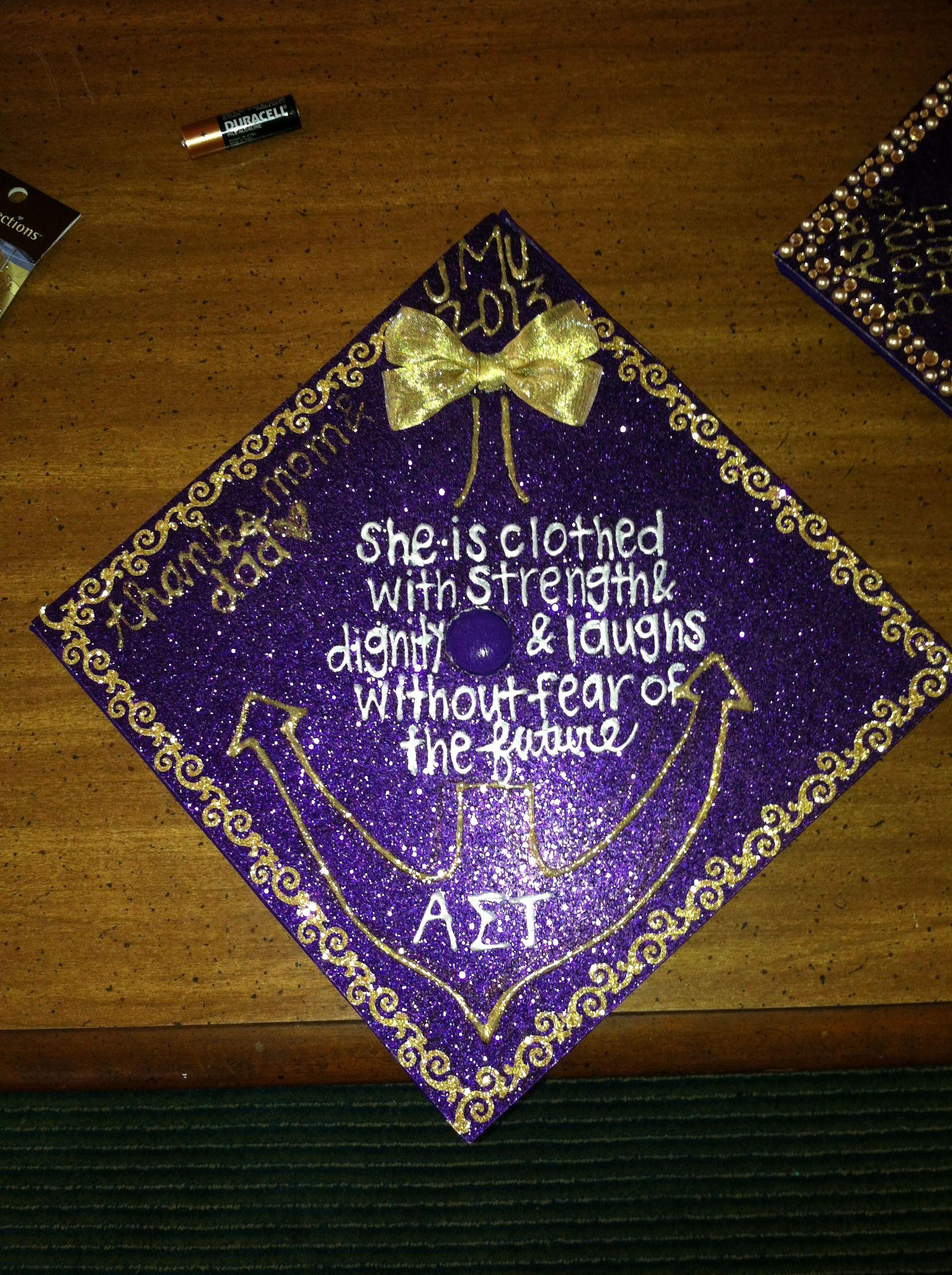 Ast Jmt Decorated Graduation Cap Grad Hat Commencement Purple