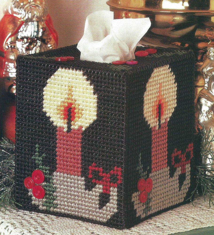 ~ ~ ~ PLASTIC CANVAS ** PATTERN ** ~ CHRISTMAS CANDLES TISSUE BOX COVER ~ PRETTY #PATTERNISTAKENFROMAMAGAZINE