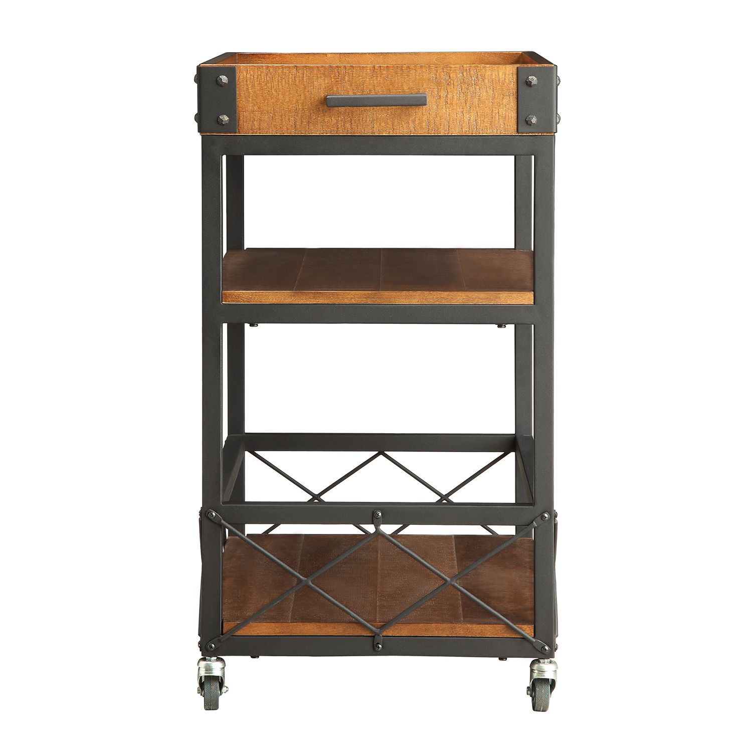 INSPIRE Q Myra Rustic Mobile Kitchen Bar Serving Wine Cart with Removable  Tray Top | Overstock