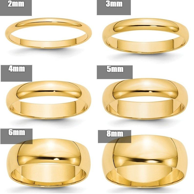 10k Solid Yellow Gold 2mm 2 5mm 3mm 4mm 5mm 6mm 8mm Wide Men S Women S Wedding Band Ring Sizes 4 14 Solid 10k Gold Thumb Toe Midi Stacking In 2020 Plain Gold Wedding Bands
