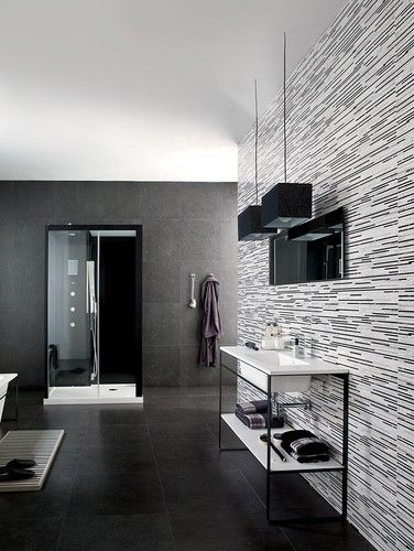 This Is The Most Awesome Bathroom Tile! Black, White, And Gray Tile Accent