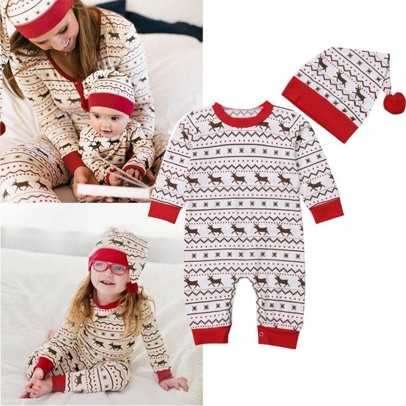 2Pcs Newborn Baby Boys Girls Christmas Costume Bodysuit Romper Hat Set Clothes