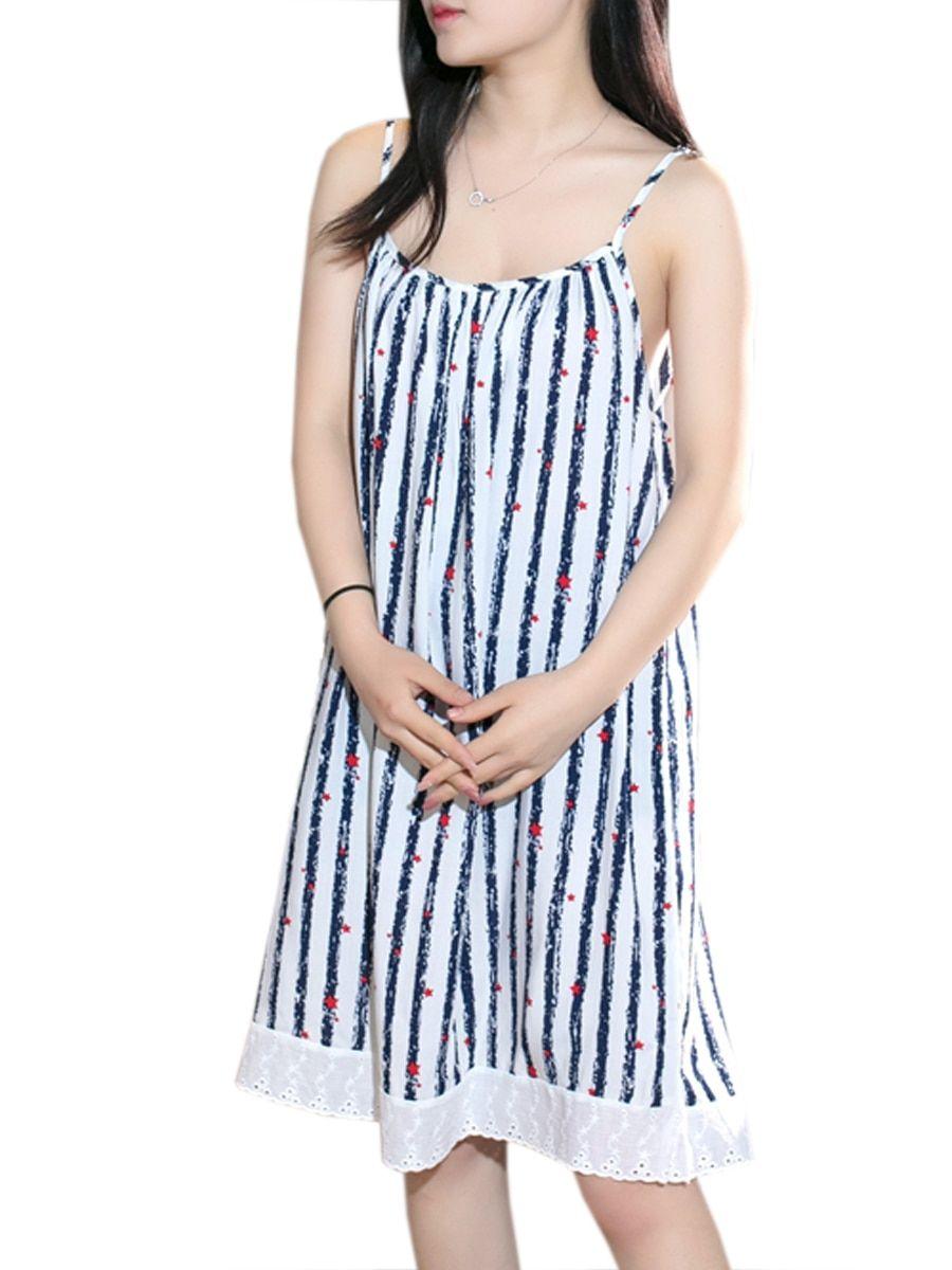 Buy womens dress sleeveless striped pattern lace