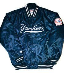 Vintage New York Yankees Majestic Satin MLB Jacket Size XL available at www.vintagemensgoods.com
