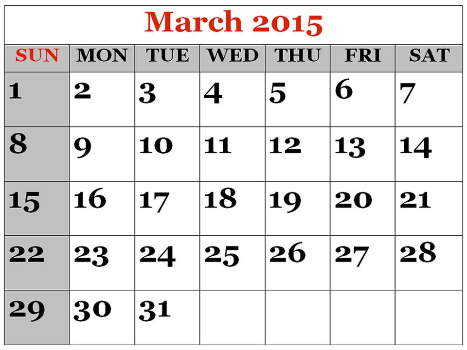 Best Collection Of Calendar March 2015 Printable Template Cute