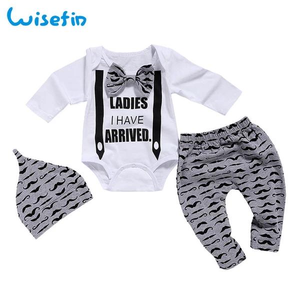 Wisefin Newborn Baby Boy Clothing Set 3 Piece Big Bow Children Infant Eosegal Boys Winter Clothes Newborn Boy Clothes Baby Boy Sets