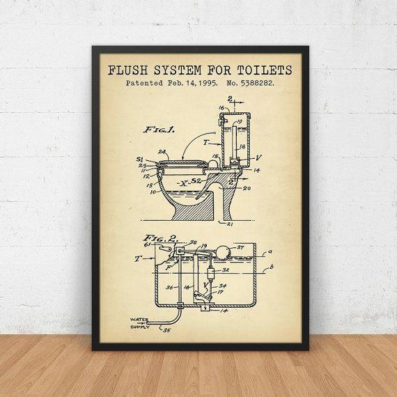 Bathroom poster flush system for toilets patent art printable bathroom poster flush system for toilets patent art printable digital download blueprint art malvernweather Choice Image