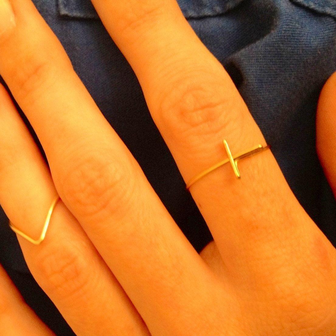 Sideways Cross Ring Knuckle or Regular Adjustable by MadebyLeahSue