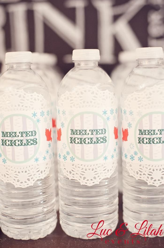 """Nice water bottle decorating idea... also prefer """"melted icicles"""" to """"melted snowman"""""""