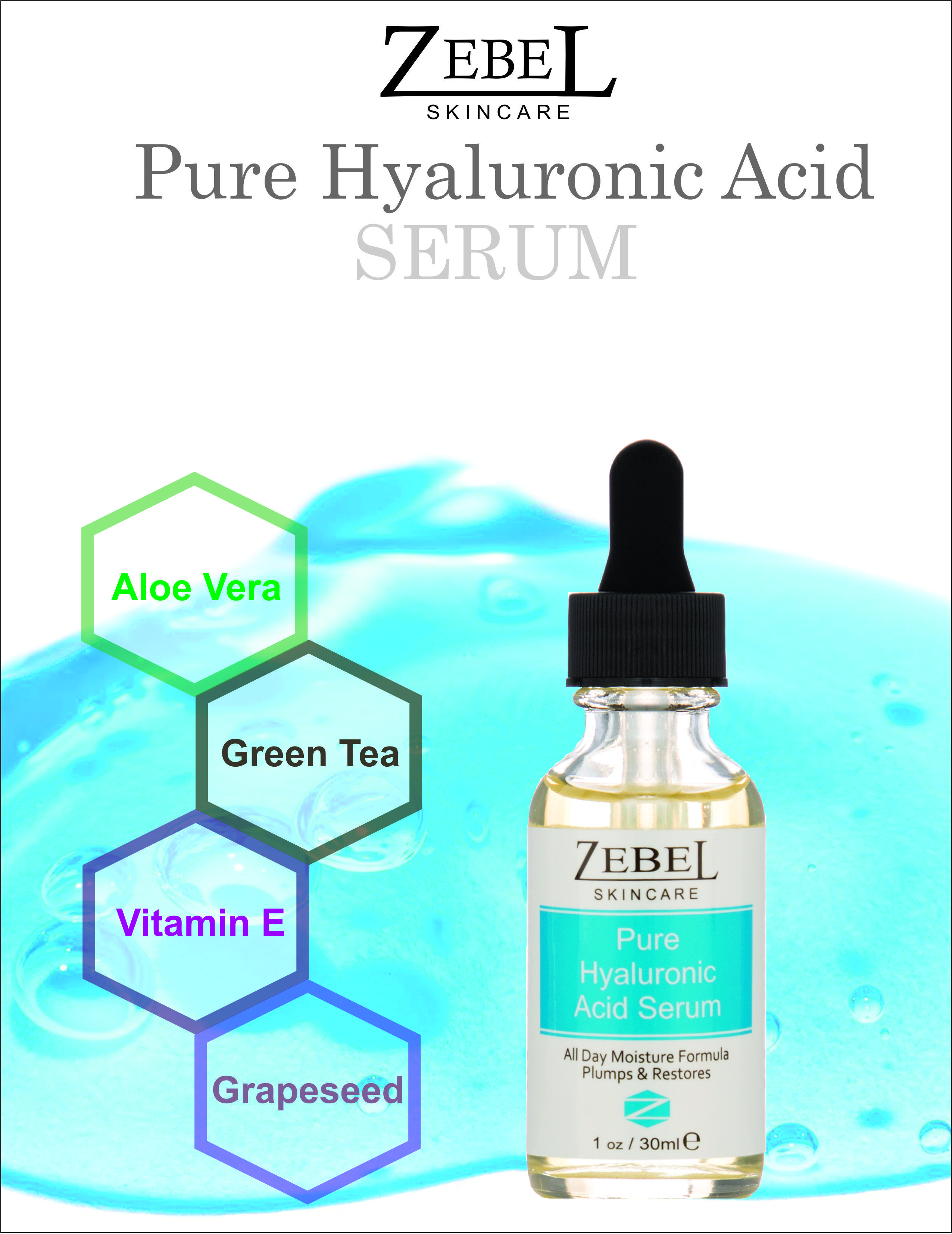 Pure hyaluronic acid serum key ingredients aloe vera gel green