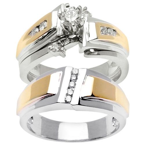 100ct tcw wedding ring set in 18k two tone gold trio set - Wedding Ring Trio Sets