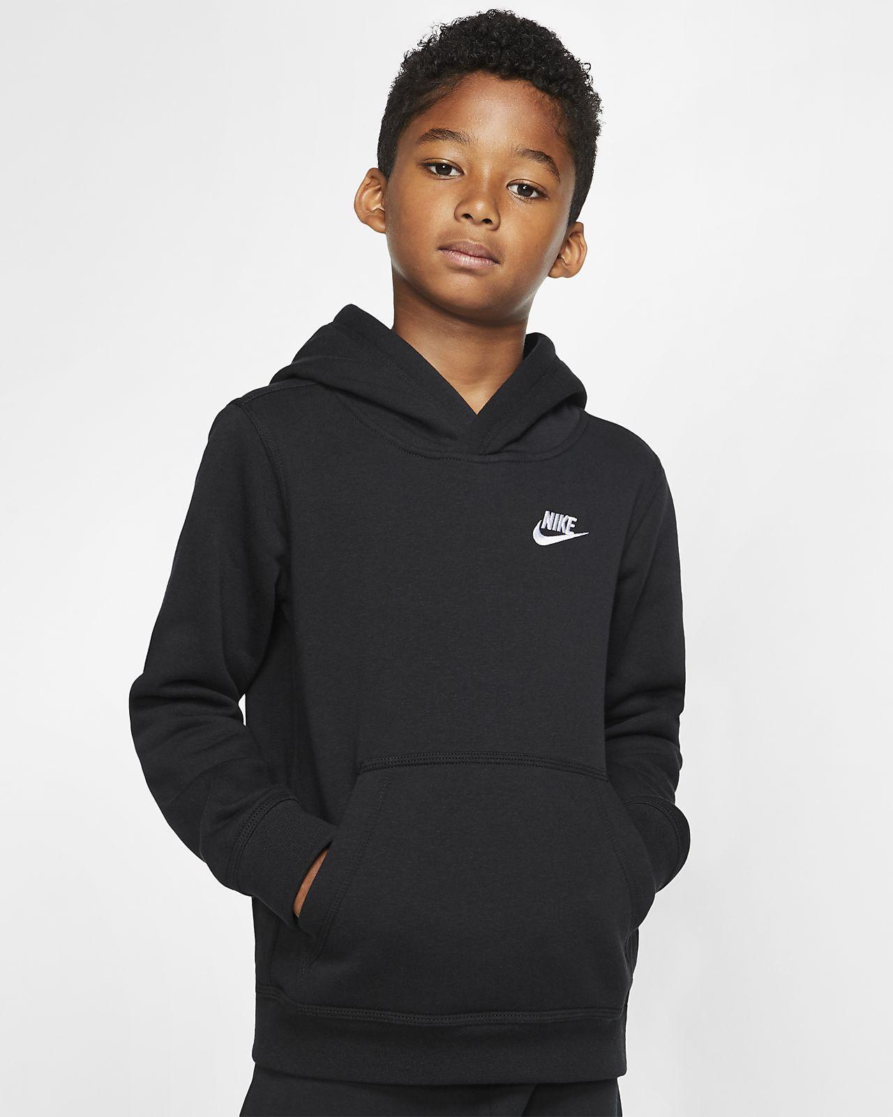 Sweatshirt à capuche Nike Sportswear Hoodie FZ noir logo blanc