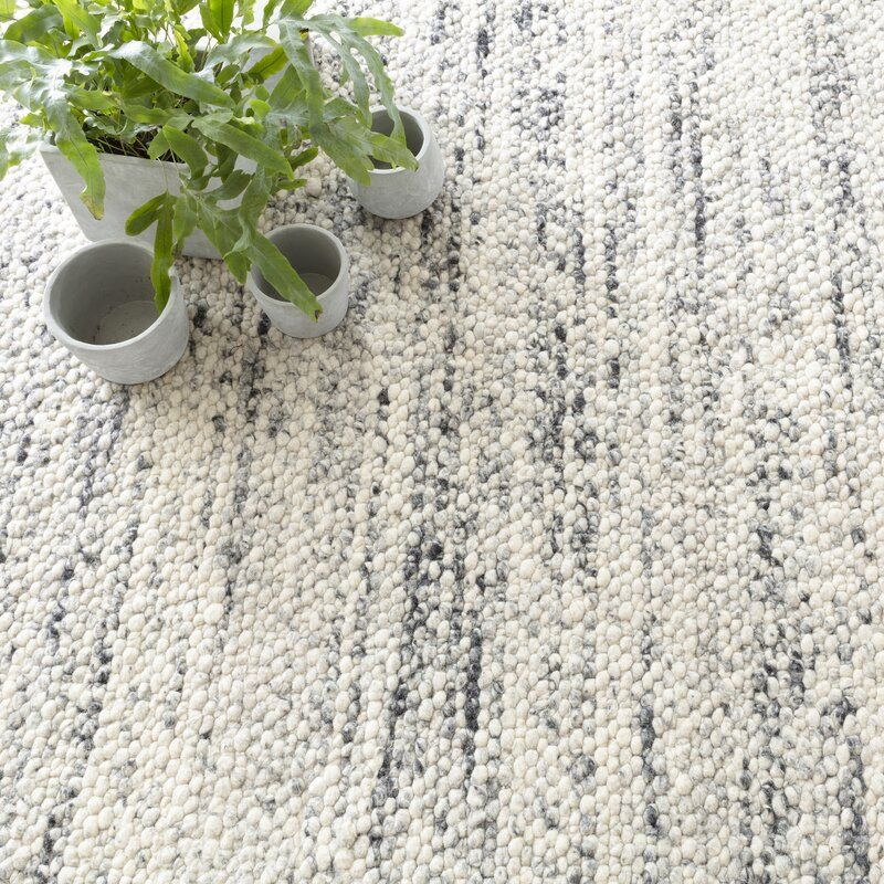 Cobblestone Hand Looped Wool Gray White Area Rug Dash And Albert Rugs Wool Rug Rugs