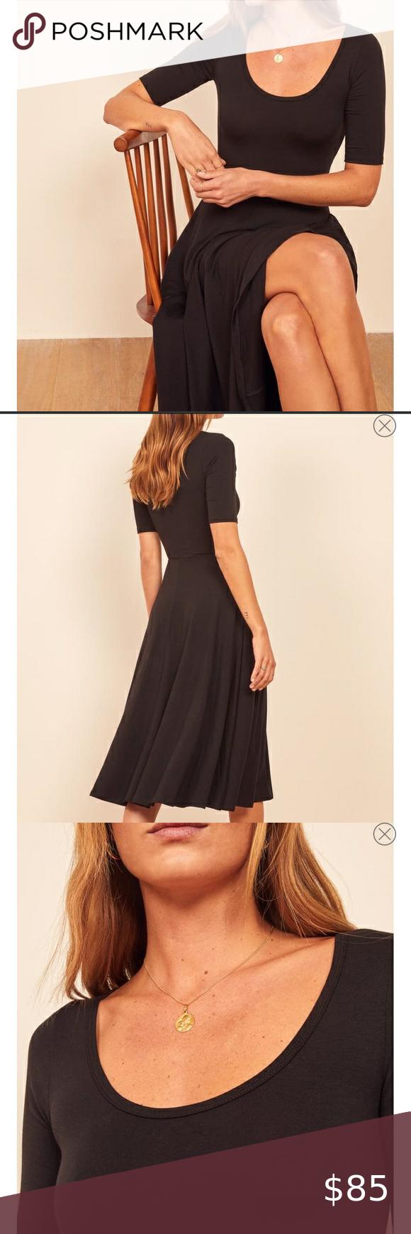 Reformation Lilian Black Dress Sz Xl Fit Flare In 2020 Black Dress Fit Flare Dress Dresses [ 1740 x 580 Pixel ]