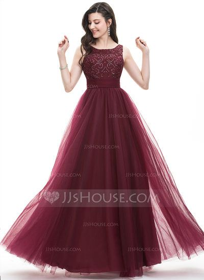 A-Line/Princess Square Neckline Floor-Length Tulle Prom Dresses With ...