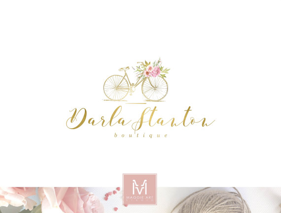 Bike Logo,Floral Logo , Watercolor Logo, Florist Logo, Photography Logo, Boutique Logo ,Shabby Chic Logo, Watermark