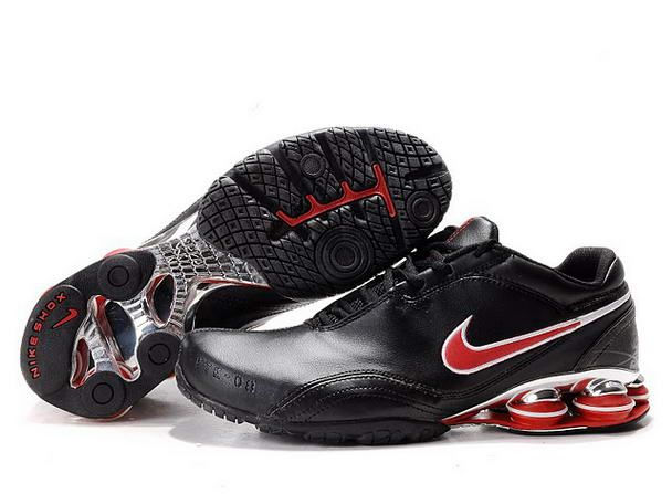 75ec16edcedac0 Black Red Leather Nike Air Shox R5 Men Shoes 213