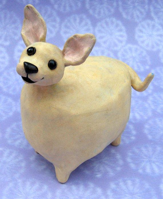Fat Chihuahua Ceramic Chihuahua Sculpture Smiling Fat
