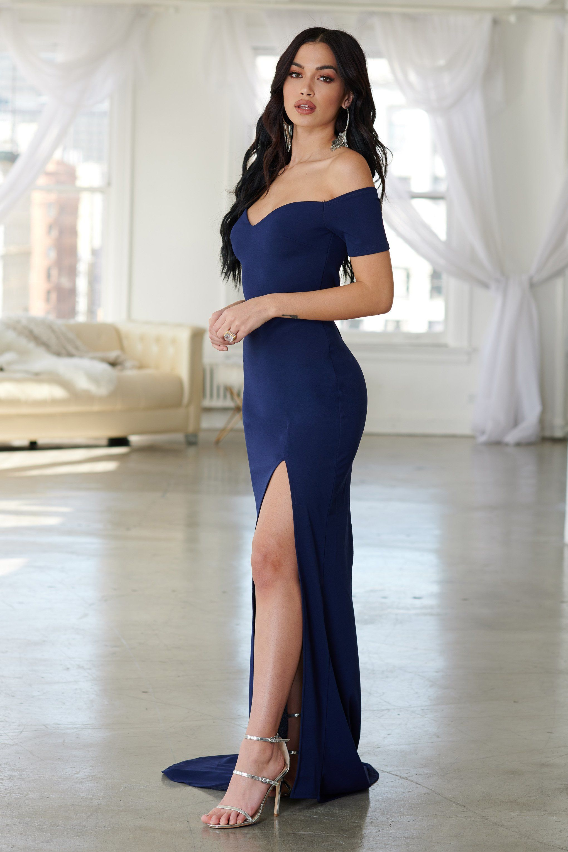 6034144421b8 Navy Bardot Thigh Split Maxi Dress in 2019 | Bellas hot 2 | Dresses ...