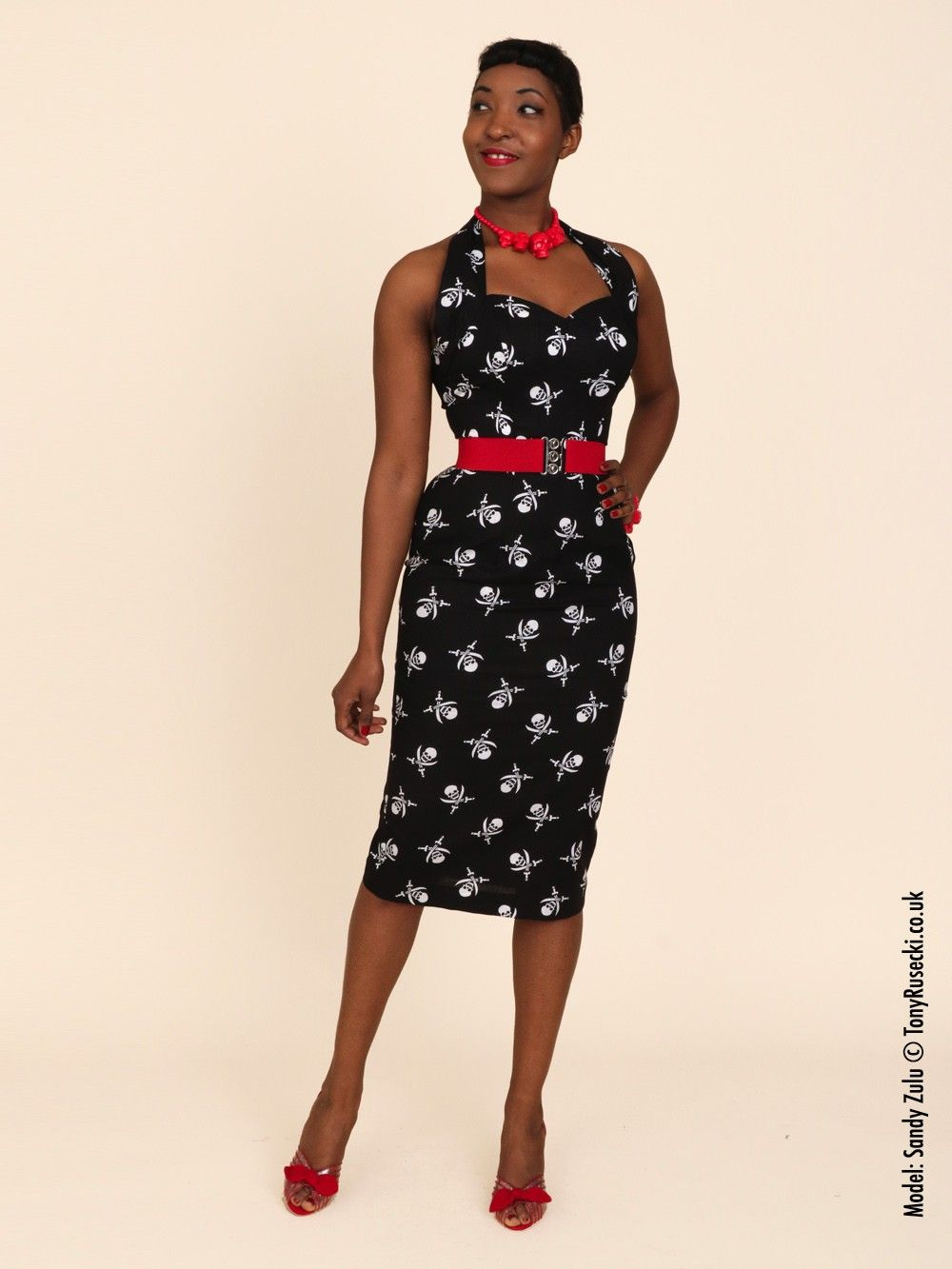 95b79a80a91b7 1950s Halterneck Pencil Pirate Dress from Vivien of Holloway ...