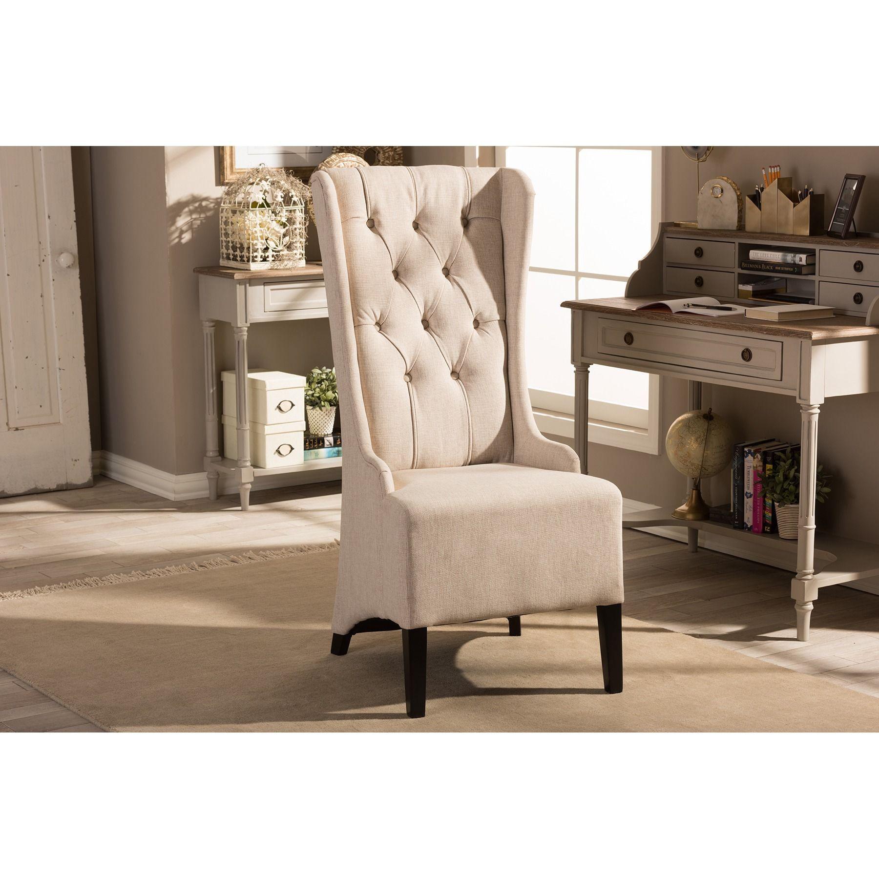 Vincent Beige Linen Modern Accent Chair by Baxton Studio