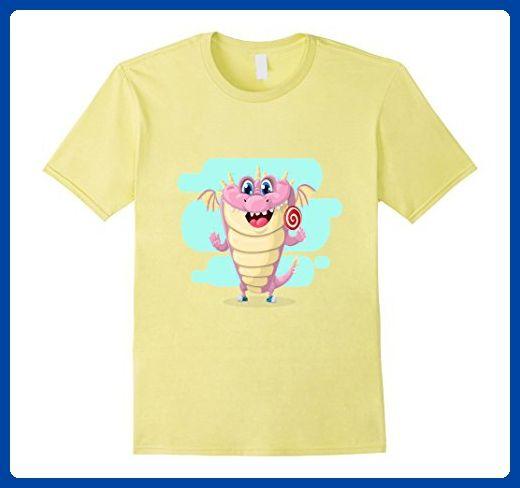 Mens Dragon Cute Beautiful T-Shirt, Dragon with Lollipop Tee Large Lemon -  Fantasy