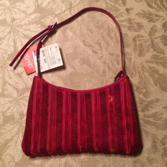 "Esprit Red Handbag Beautiful red handbag by Esprit. One side has sequin and velvet strips. The back side is solid. The strap is made of leather. Measurements: the bag is 6"" x 9 1/2"". 14"" with the strap.  New with tags. ESPRIT Bags Shoulder Bags"