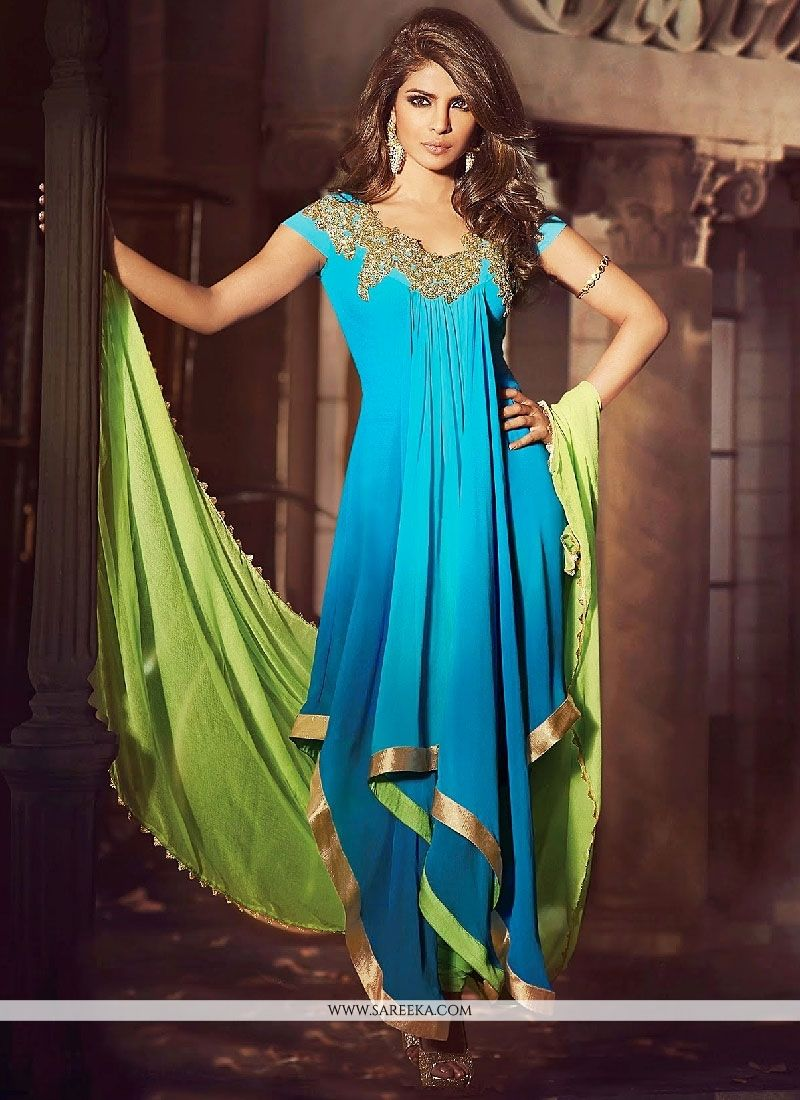 Priyanka Chopra Turquoise Embroidery Faux Georgette Anarkali Suit ...