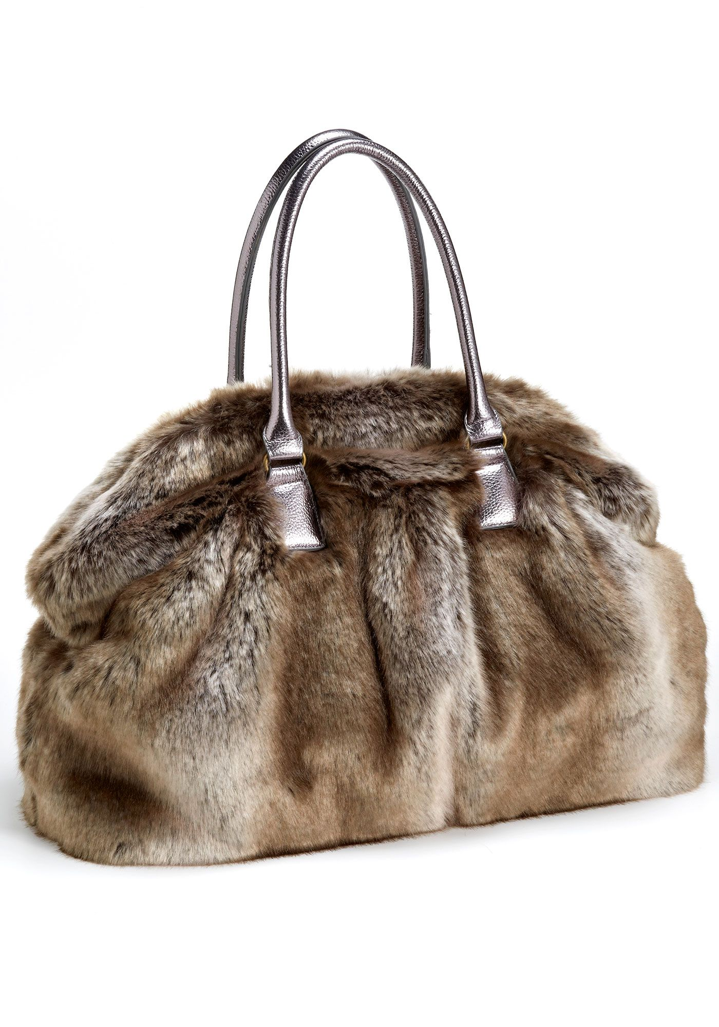 081391a9435e Timber Wolf Couture Carry-All Faux Fur Handbag