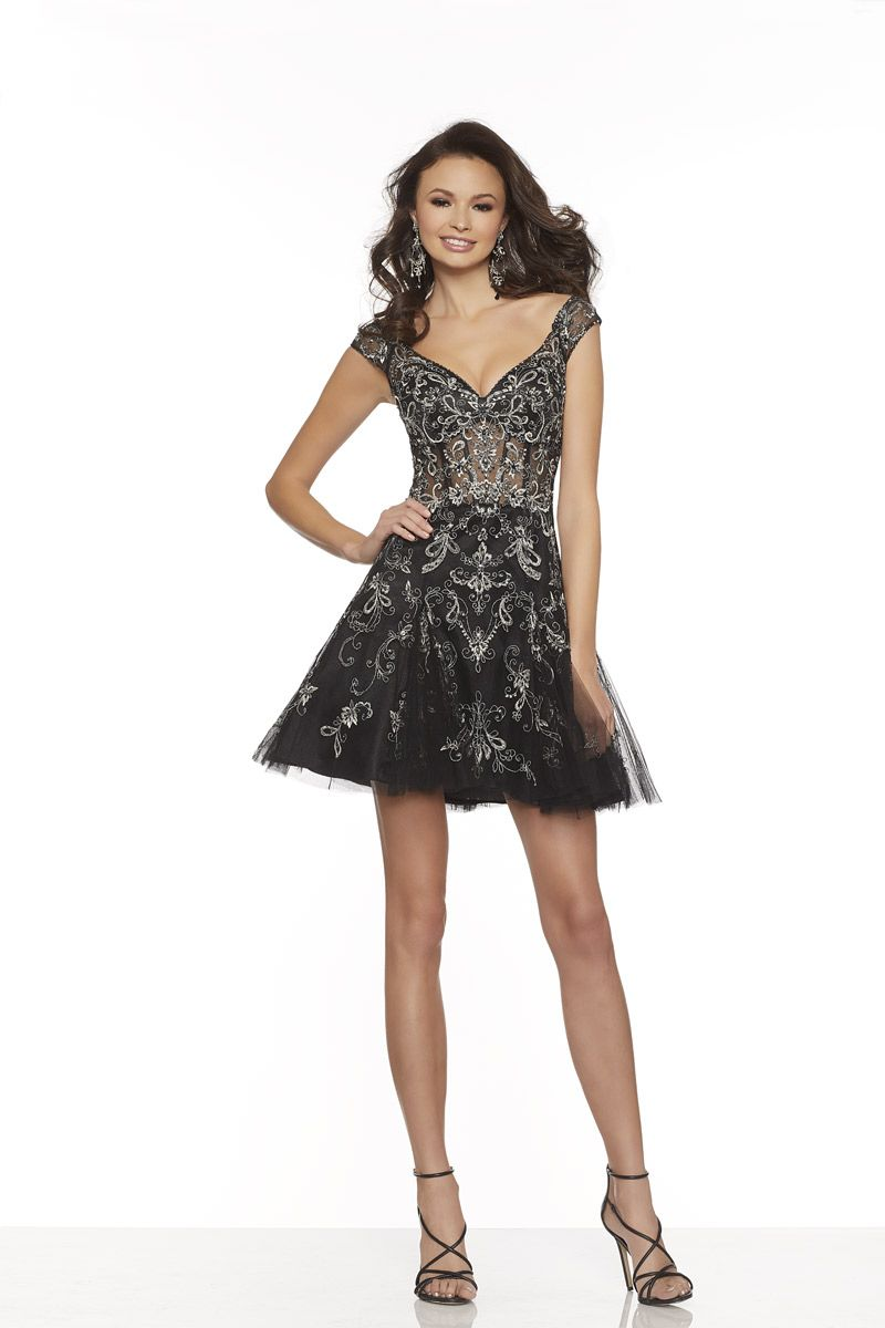 533deed673 Sticks and Stones 33059 is a cap sleeve short homecoming dress in Beaded  Embroidery on Net with an illusion corset bodice and a Zipper Back.