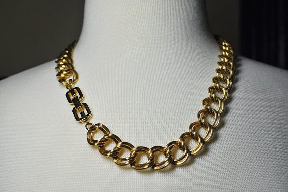 On Sale Vintage Givenchy Double Link Chain Necklace Gold Etsy Vintage Givenchy Vintage Givenchy Jewelry Chain Necklace