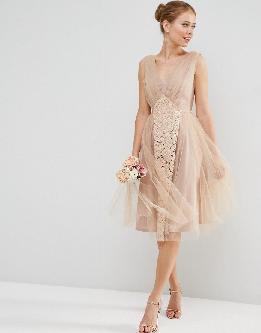 Image 1 of ASOS WEDDING Mesh and Lace Insert Midi Prom Dress ...