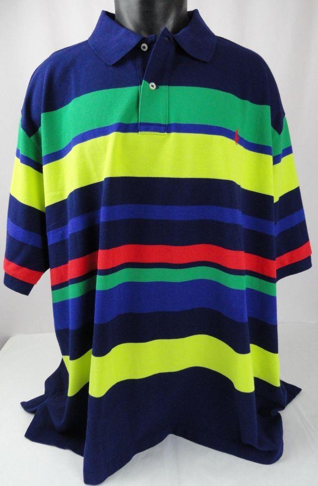 2b20bf28d5d89 NWT Polo Ralph Lauren 4XB Polo Shirt Striped ColorBlock Blue/Red ...