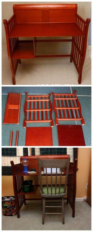 baby crib turned into a desk kids blogger home projects we love diy furniture diy crib. Black Bedroom Furniture Sets. Home Design Ideas