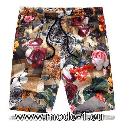 Kurze Herren Hose in Schwarz mit Blumen Muster #mode