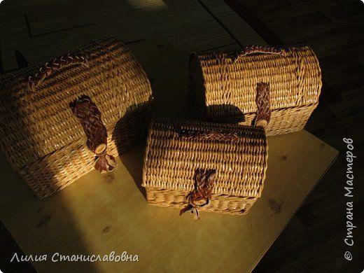 Поделка изделие Новый год Плетение Сундучки в подарок хорошему человеку Окрашены разбавленной ВМ дуб  Бумага газетная фото 7