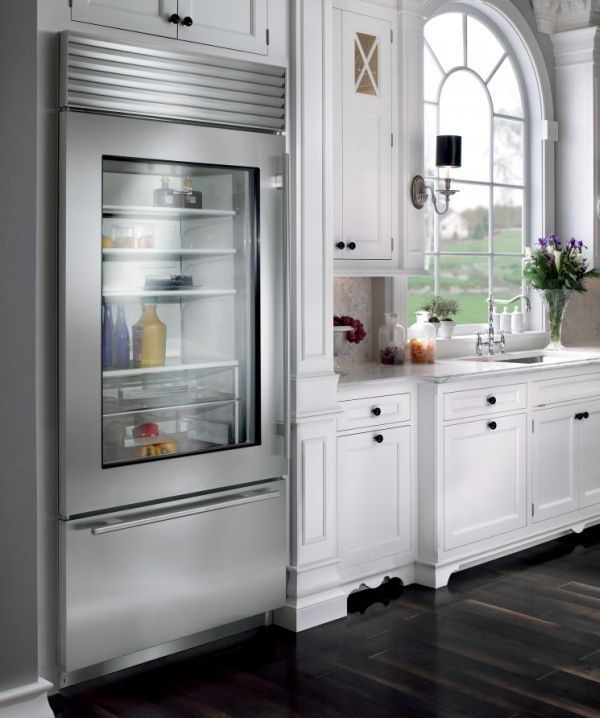 Stylish Glass Door Refrigerator For A Kitchen In