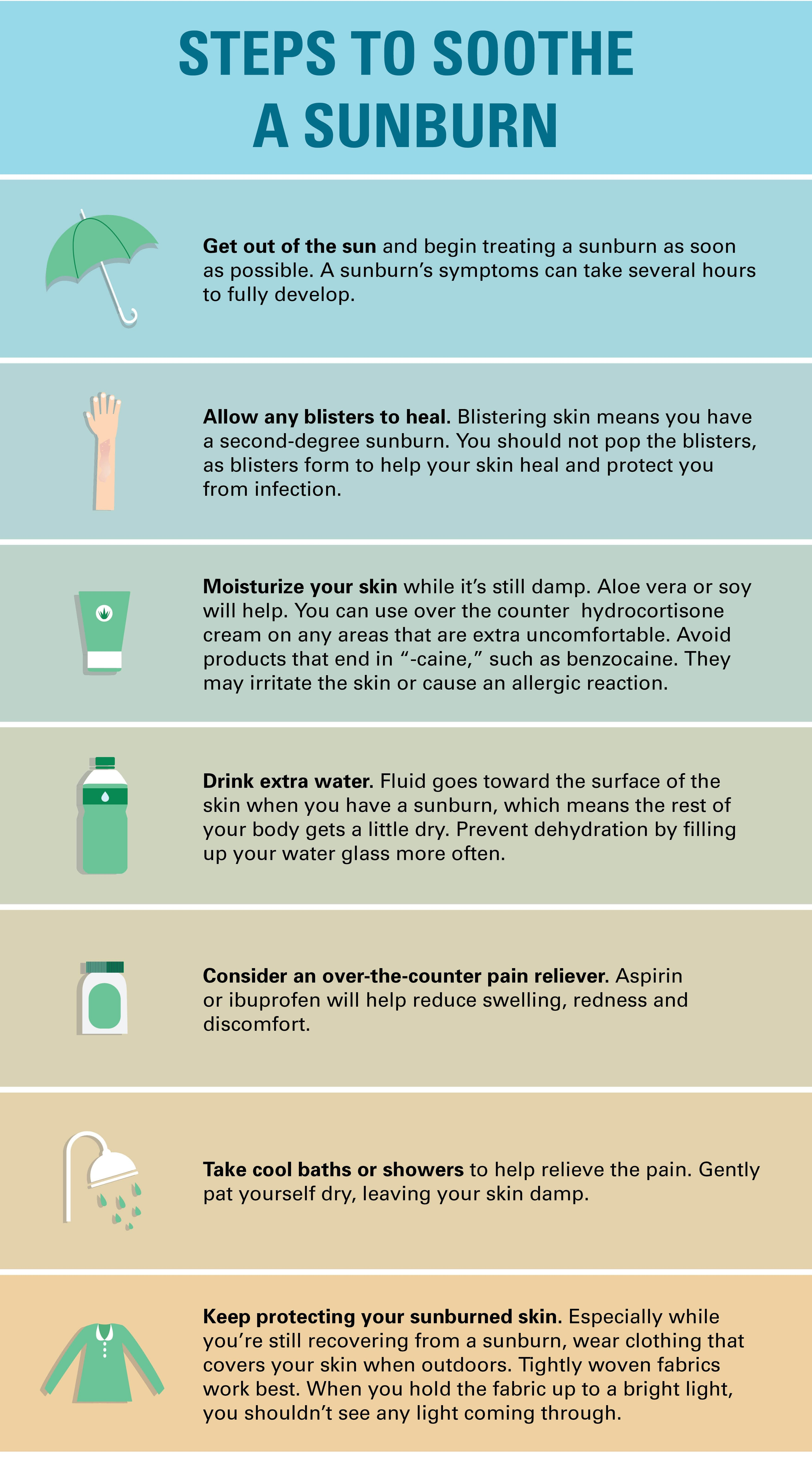 """infographic: 7 steps to soothe sunburn symptoms, adapted from """"how"""