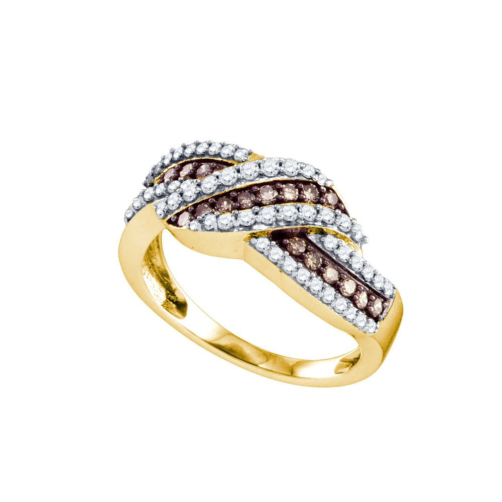 10k Yellow Gold Cognac Brown Colored Diamond Crossover Fine Cocktail Band Ring 3 4 Cttw 72931