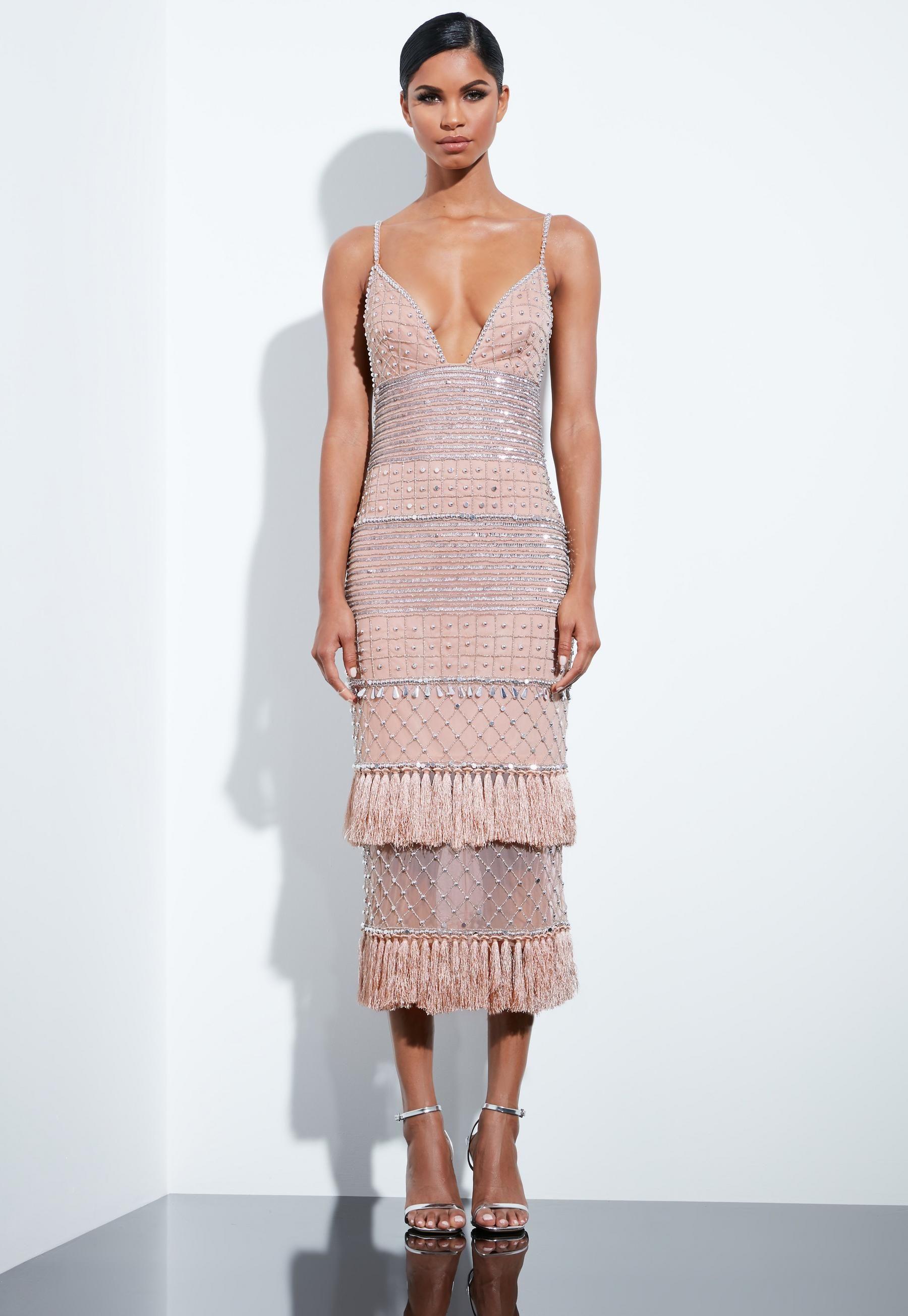 f2c4af92b61 Peace + Love Nude Beaded Tassel Midi Dress